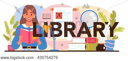 Library Typographic Header. Library Staff Cataloguing And Sorting Books