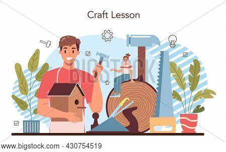 Crafting And Modeling School Course. Teacher Learning Students To Craft