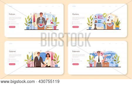 Politician Web Banner Or Landing Page Set. Election And Democratic Governance