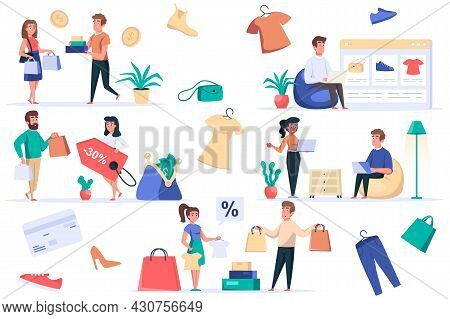 Shopping People Isolated Elements Set. Bundle Of Customers Buy Online Or Store, Clothes Sale, Paymen
