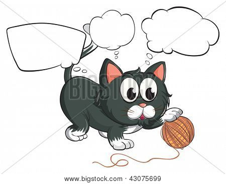 Illustration of a black cat and the empty callouts on a white background