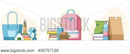 Set Of A School Lunch Fastfood Sushi And Chips In Front Of A Books And School Bags