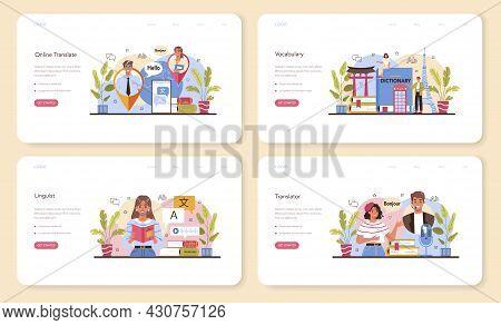 Translator Web Banner Or Landing Page Set. Linguist Translating Document