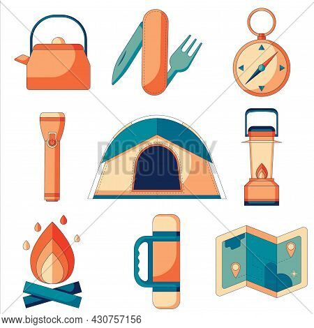 A Set Of Flat Icons Of Camping And Survival In The Wild.