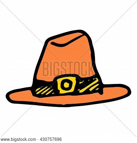 Vector Hat, Orange Color With A Yellow Buckle. A Pilgrim's Hat Painted In Doodle Style For The Autum