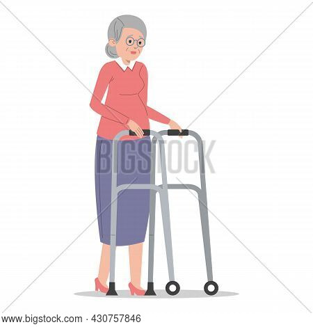 Old Woman With Walking Aid Vector Isolated