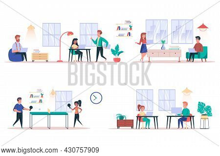 Coworking Center Isolated Elements Set. Bundle Of Colleagues Work Together, Meetings, Complete Tasks