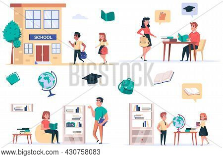 Back To School Isolated Elements Set. Bundle Of Children Rush To School, Classmates Study In Classro