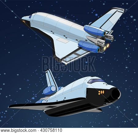 Set With Spaceships And Satellite In Space. Space History Program, Human Exploration Of Near Space.