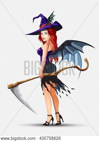 A Beautiful Smelly Witch With Red Hair Stands. The Witch Holds A Large Braid In Her Hand. On The Bac