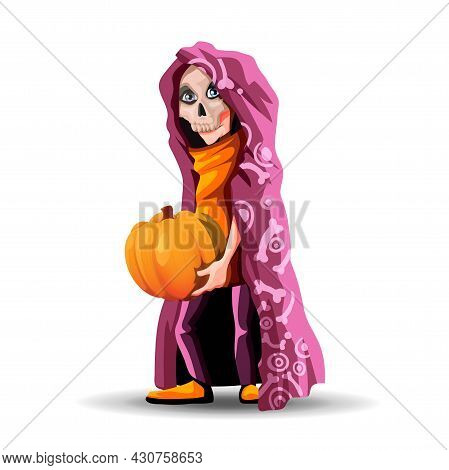 A Tall Teenager Wearing A Burgundy Cloak And A Skull Mask. Skeleton Boy Holding A Pumpkin For Hallow