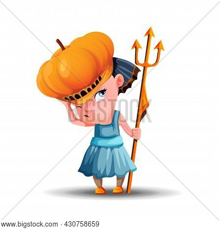 Little Angry Girl With A Pumpkin Hat And A Trident In Her Hand. Cute Girl Dressed For The Holiday Ha