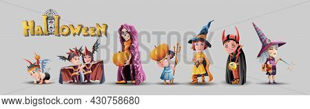 Collection With Kids Characters For Halloween. Halloween Costumes Set. Children, Boy, Girl, Witch, W