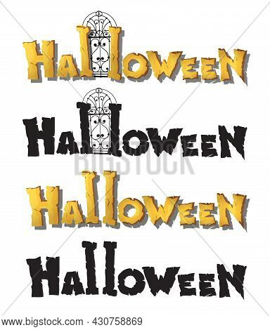 Horizontal Set With Title Halloween Yellow Handwritten Text. Title Halloween On The White Background