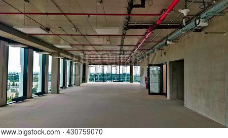 Prague, Czech Republic - August 7, 2021: Empty Interior Of Newly Built Office Building Without Any F