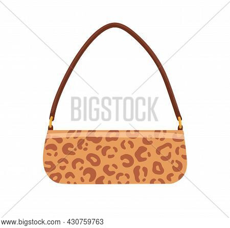 Trendy Baguette Bag With Leopard Print. Fashion Women Clutch With Animal Pattern And Shoulder Strap.