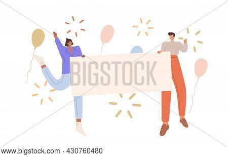 Happy People Holding Blank Banner With Place For Text. Cheerful Man And Woman With Empty Placard In