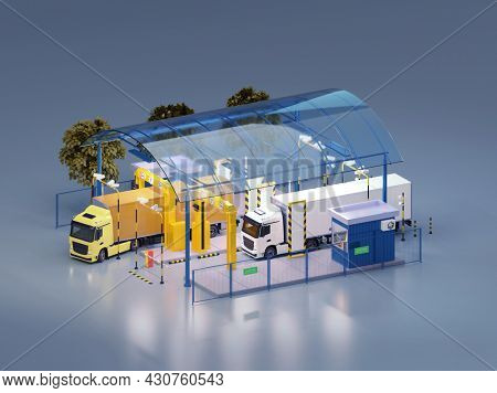Trucks at the customs control on border checkpoint. X-ray truck scanner. Customs control zone services. Booth, barriers, CCTV video surveillance. 3d illustration