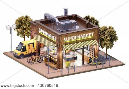 Supermarket or grocery building with interior. Supermarket trolley carts, shelves with products, cashier desk and delivery van unloading goods. With clipping path. 3d illustration