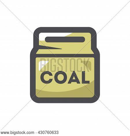 Coal Pack Bag Vector Icon Cartoon Illustration.