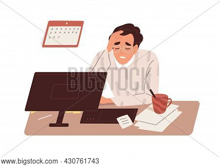 Tired Sick Man At Work. Exhausted Overworked Employee At Office Desk. Concept Of Burnout And Overloa