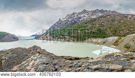 Panoramic Image Over Lago Grey With Icebergs In Torres Del Paine National Park In Patagonia In Summe