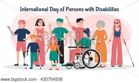 International Day Of Persons With Disabilities Banner Vector Isolated. Handicapped People Together.
