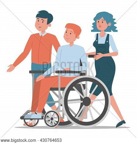 Friends Walking Together Isolated. Young Disabled Guy