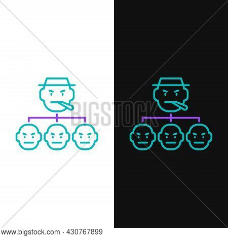 Line Mafia Icon Isolated On White And Black Background. Boss And Gangsters. Colorful Outline Concept