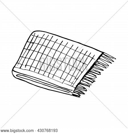 Hand Drawn Warm Plaid. Black And White Vector Illustration In Doodle Style. Cozy Warm Blanket. Inter