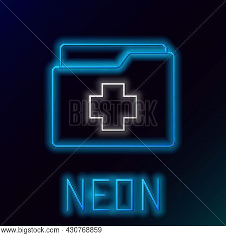 Glowing Neon Line Medical Clipboard With Clinical Record Icon Isolated On Black Background. Prescrip