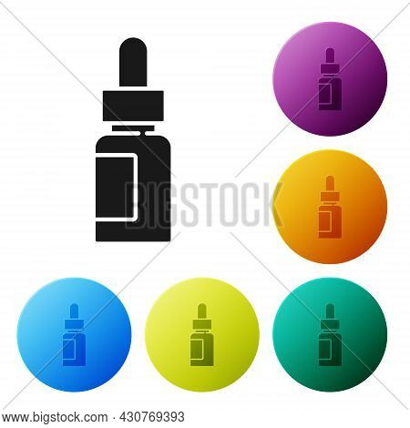 Black Essential Oil Bottle Icon Isolated On White Background. Organic Aromatherapy Essence. Skin Car