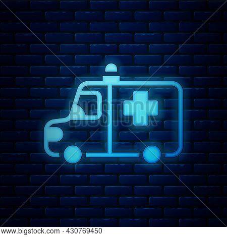 Glowing Neon Ambulance And Emergency Car Icon Isolated On Brick Wall Background. Ambulance Vehicle M