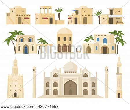 Traditional Arabic Houses Set Vector Flat Illustration Ethnic Islamic Architecture Facades