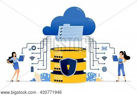 Illustration Of Sharing And Communicating Data With Cloud Services Integrated With A Secure Database
