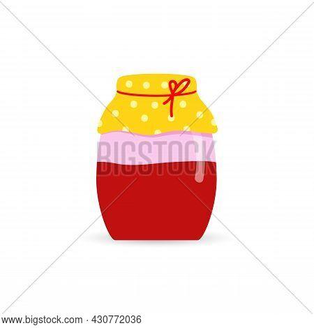 Glass Jar With Homemade Red Jam. A Jar Of Strawberry, Cherry, Or Raspberry Jam.