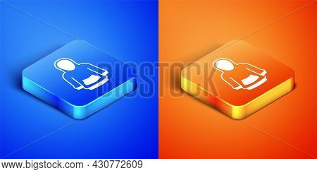 Isometric Hoodie Icon Isolated On Blue And Orange Background. Hooded Sweatshirt. Square Button. Vect