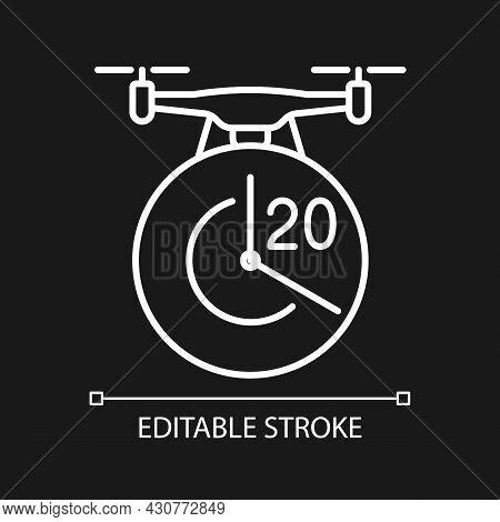 Maximum Flight Time White Linear Manual Label Icon For Dark Theme. Thin Line Customizable Illustrati