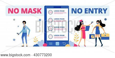 Vector Illustration Of Technology In Ensuring People Wear Masks On Holidays. Information Of No Entry