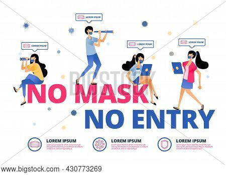 Vector Illustration Of Warning For People In Outdoor Activities Must Wear Masks. Information Of No M