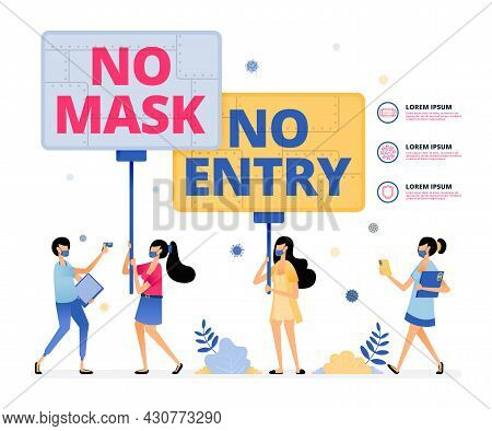 Vector Illustration Of Warning To Ensure People Comply With Health Protocols By Wearing Masks And Di
