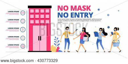 Vector Illustration Of Warning For People To Follow The Health Protocol When Entering The Building.
