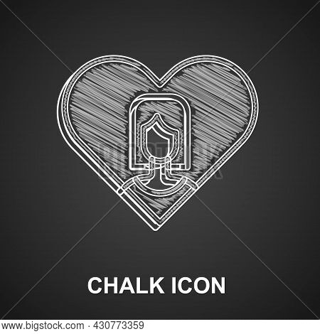 Chalk Heart With Female Icon Isolated On Black Background. Venus Symbol. The Symbol For A Female Org