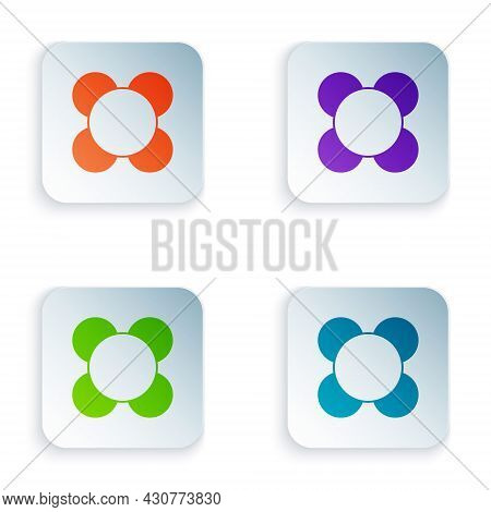 Color Molecule Icon Isolated On White Background. Structure Of Molecules In Chemistry, Science Teach