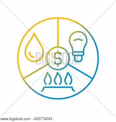 Paying Bills Gradient Linear Vector Icon. Utility Services Cost. Payment For Household Expense. Fina