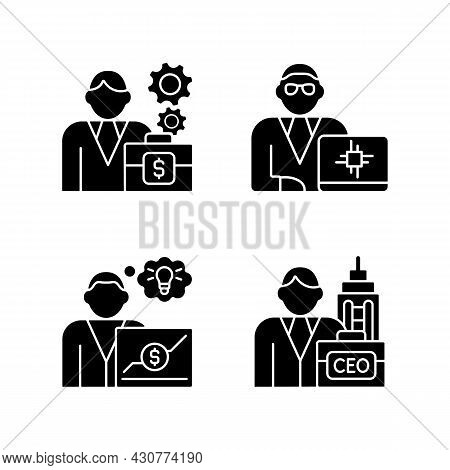 Senior Executive Roles Rgb Black Glyph Icons Set On White Space. Chief Executive Officer. Technology