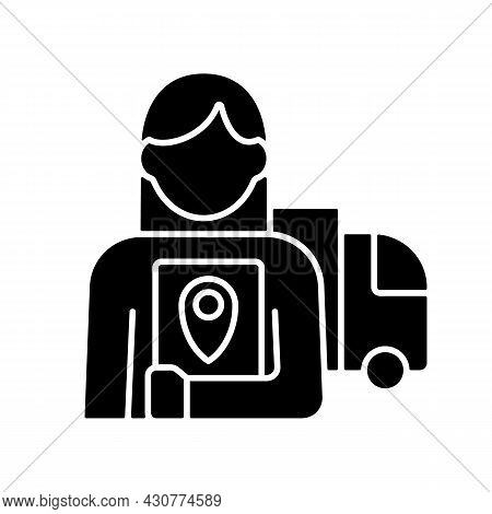 Logistician Black Glyph Icon. Control Movement Of Products And People. Transportation, Management. C