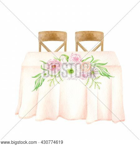 Watercolor Wedding Table For Newlywed With Flower Bouquets Decoration Isolated On White. Hand Painte