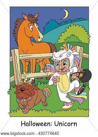Funny Girl With A Dog In Unicorn Costumes And Surprised Horse. Halloween Concept. Cartoon Vector Ill