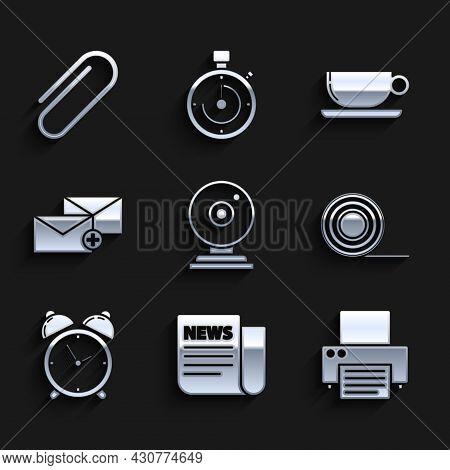 Set Web Camera, News, Printer, Scotch, Alarm Clock, Envelope, Coffee Cup Flat And Paper Clip Icon. V